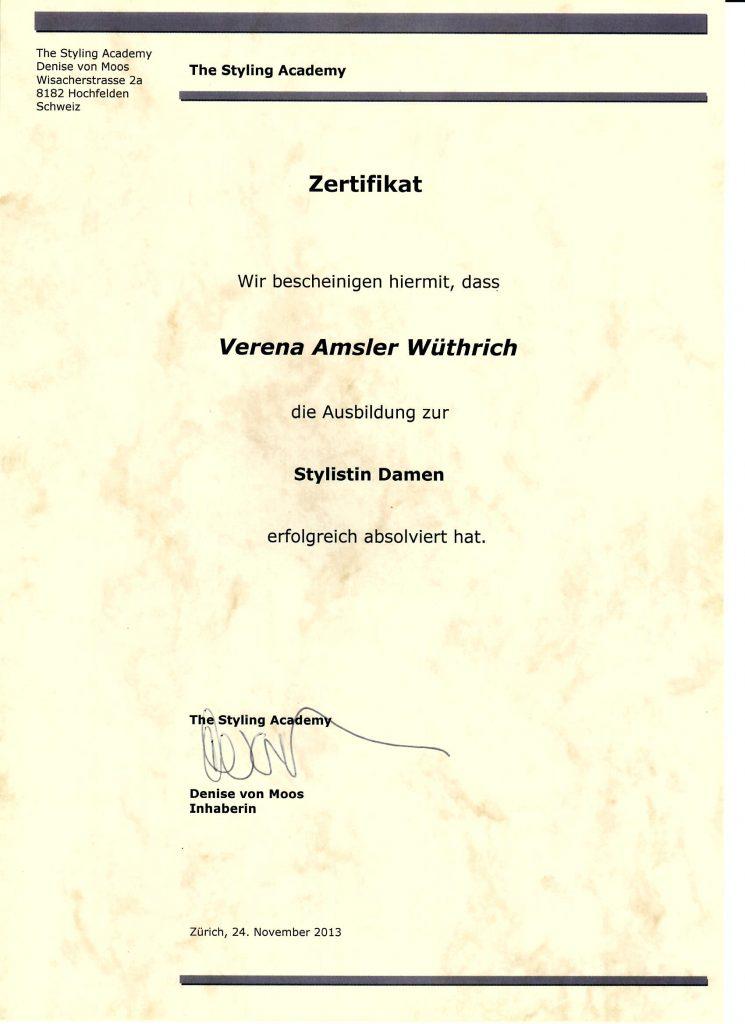 Zertifikat Stylistin