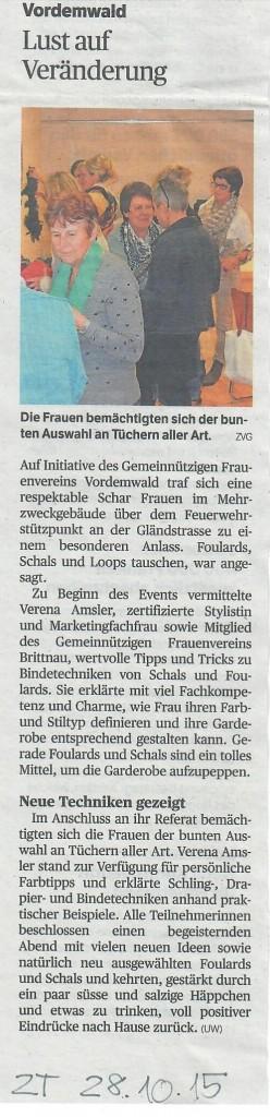 Zofinger Tagblatt 28.10.2015